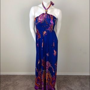 Blue Paisley Smocked Silk-Blend Halter Maxi Dress